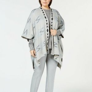 NY Collection Plus Size Open-Front Poncho 1X
